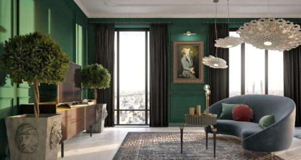 Нетипичная классика: интерьер квартиры с панорамным видом на Москву