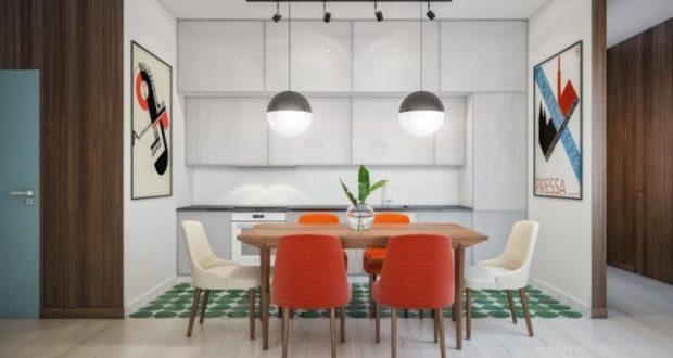 Квартира с постерами Баухаус, в которой все дороги ведут в гостиную